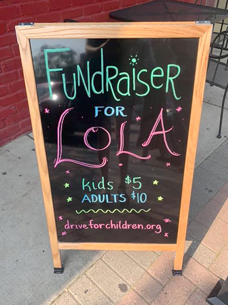 Lola fundraiser event sign