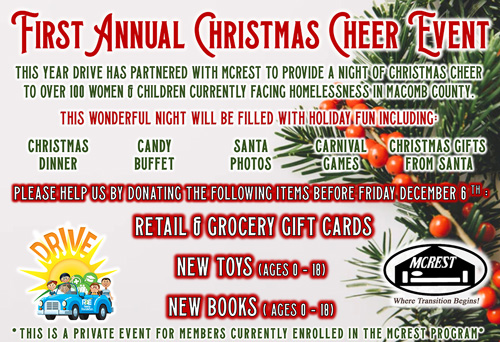 Toy and gift card donation drive.